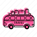 beach, bus, car, enjoy, holiday, sea, summer, travel, vacation, van