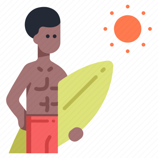 beach, board, man, summer, surf, surfboard, surfer icon