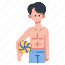 activity, ball, beach, men, people, summer, volleyball icon