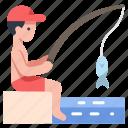 fish, fishing, rod, sea, summer, vacation, water icon