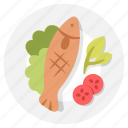 dish, fish, food, grilled, meal, plate, seafood icon