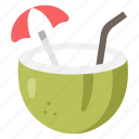 coconut, drink, food, fresh, fruit, juice, summer icon