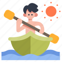 active, adventure, boat, kayak, kayaking, sport, sun icon
