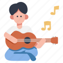 guitar, man, music, musician, play, playing, sitting icon