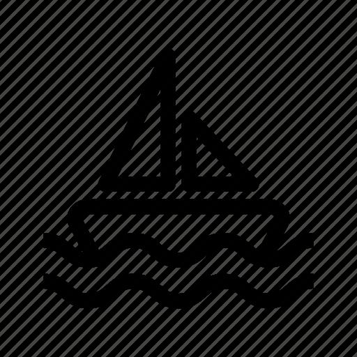 boat, sail, sail boat, sea, vacation icon