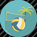 ball, beach, beachvolley, net, palm, sport, tree, volley, volleyball icon
