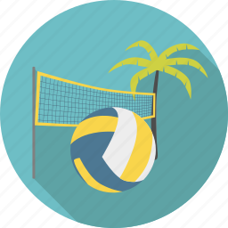 ball, beach, beachvolley, net, palm, sport, tree, volley, volleyball icon