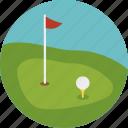 ball, court, flag, golf, hole, jard, sport icon