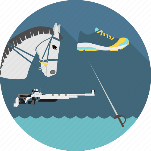 equestrian, fencing, modern, penthatlon, riding, running, shooting, swimming icon