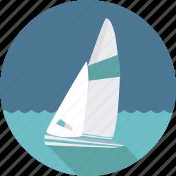 boat, sailing, sailing boat, sea, ship, sport, sports, water icon