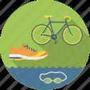 bicycle, cycling, equipment, goggles, run, running, shoe, sport, swimm, swimming, triathlon icon
