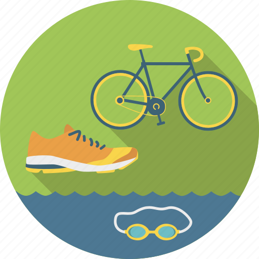 bicycle, cycling, running, shoe, sport, swimming, triathlon icon