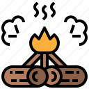 bonfire, campfire, camping, fire, miscellaneous, wood icon