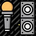 karaoke, microphone, sing, singer, speaker, technology icon