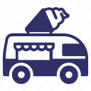 combi, food truck, ice cream, snack, summer, van icon