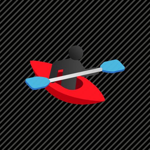 active, canoe, isometric, kayak, leisure, outdoor, water icon