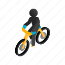athlete, bicycle, bike, biker, cyclist, isometric, sport icon