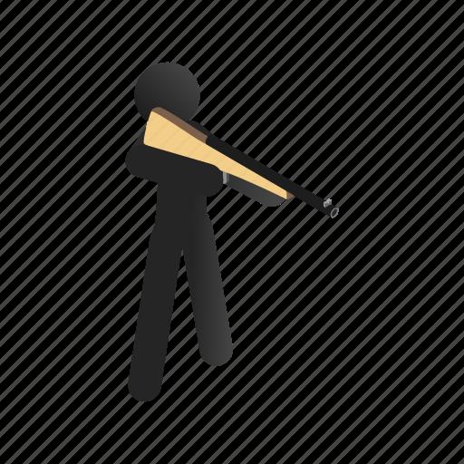 gun, isometric, male, man, rifle, shooting, sport icon