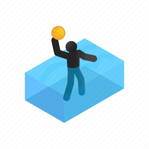 ball, competition, isometric, polo, pool, sport, water icon