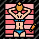 chill, relax, sunbathing, sunbed, umbrella icon
