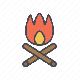 campfire, camping, fire, outdoor camp icon