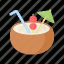 cocktail, coconut, drink, nut, palm, summer