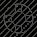 lifebuoy, line, ocean, outline, safe, sea, swim icon