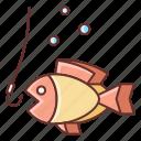 fish, fishing, food, hook