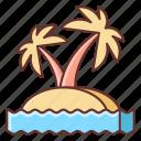 beach, island, palm, summer