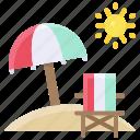 beach, beach chair, sand, summer, umbrella icon