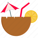 coconut, coconut water, food, fruit, lemon icon
