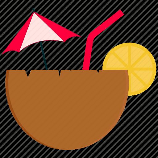 coconut, coconut water, food, fruit, lemon icon