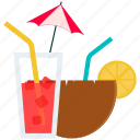 coconut, coconut water, drink, food, fruit, lemon icon