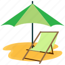 beach, chair, sea, summer, vacation icon