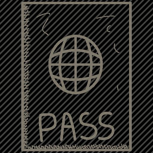 airport, pass, passport icon
