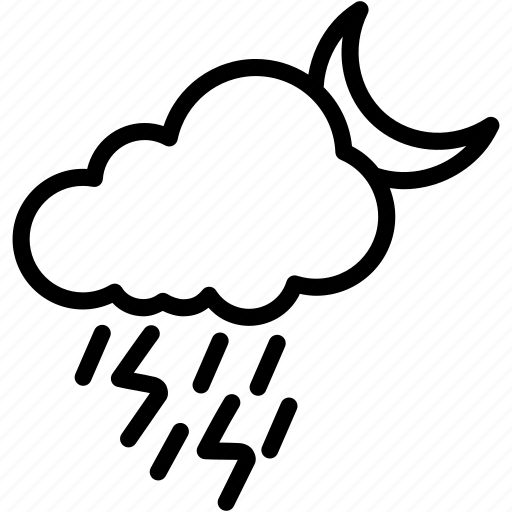 cloud, electricity, light, moon, night, rain, thunder icon