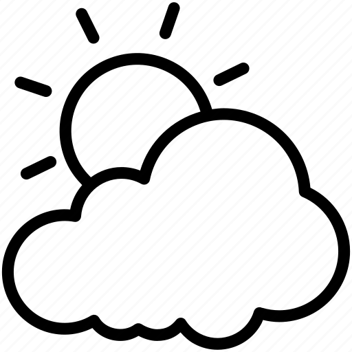 cloud, cloudy, day, sun, warm, weather icon
