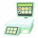 cartoon, digital, mass, measurement, scale, shop scale, weight icon