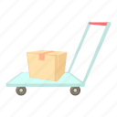 box, cargo, carry, cart, cartoon, delivery, warehouse trolley icon