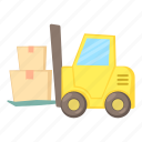 cargo, cartoon, delivery, forklift, front, lift, loader icon