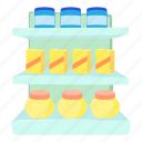 cartoon, displaying, line, product, shop shelves, stand, supermarket icon