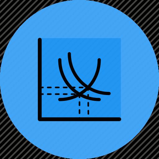 arrow, curve, demand, supply icon