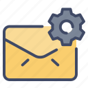 cog, email, envelope, gear, mail, setting