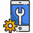 mobile, support, technical, setting, gear, wrench, service