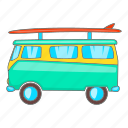 bus, cartoon, design, sign, surfboard, surfing, van icon