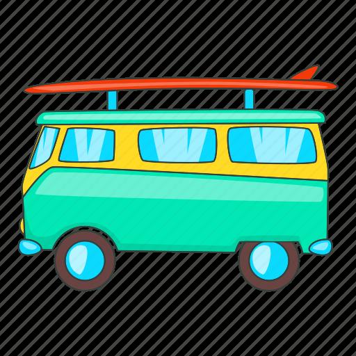 Surfing, van, surfboard, bus, sign, design, cartoon icon