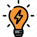 energy, idea, lamp, light bulb icon