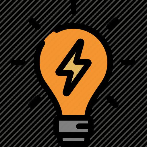 energy, idea, lamp, light bulb icon