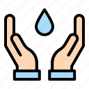 energy, hand, power, sustainable, water icon