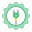 energy, gear, green, plug, power, sustainable icon